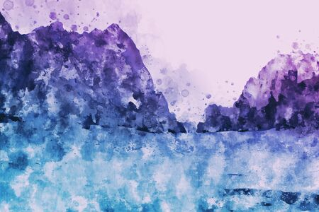 Abstract painting of mountain in blue and purple tone, Digital painting