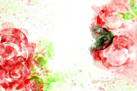 Watercolor painting of red roses with green leaves on white background