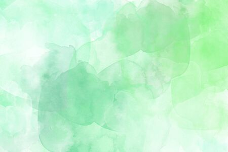 Watercolor texture on paper in sea green color for background, abstract watercolor painting