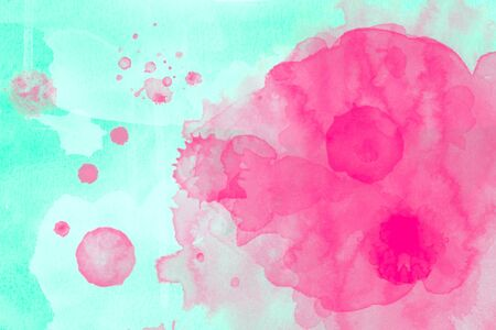 Abstract image of pink and white watercolor on green background, art background