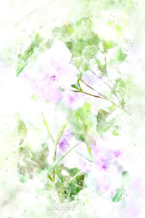 Abstract painting of purple flowers with green leaves, art illustration