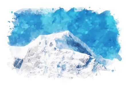 Abstract painting of mountain peak against blue sky, digital illustration, watercolor texture on image