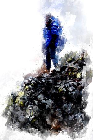 Digital watercolor painting of man sitting on cliff, art illustration