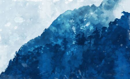 Watercolor painting of rain forest on mountain in blue tone, digital art illustration Stock Photo