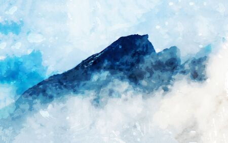 Digital landscape painting of mountains in blue tone with mist, art illustration