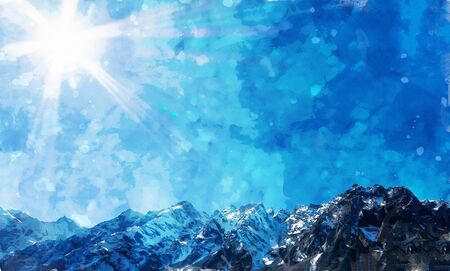 Digital landscape painting of mountains in blue tone with sun rays, art illustration