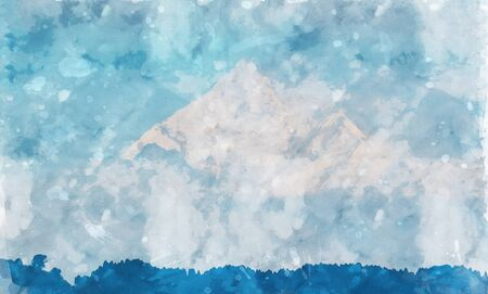 Digital landscape painting of mountains in blue tone, art illustration Stock Photo