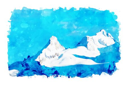 Digital landscape painting of mountains against blue sky, art illustration Stock Photo
