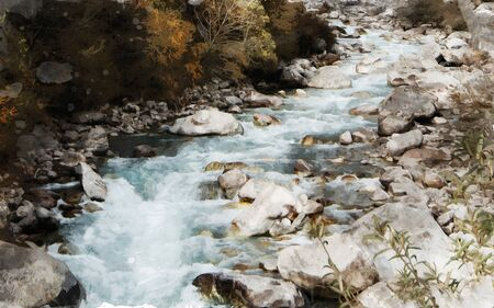 Watercolor painting of stream in valley with stones and plants, digital art illustration