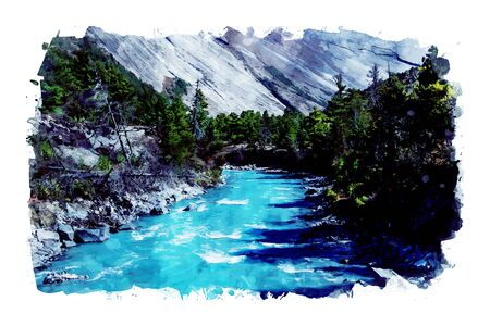 Watercolor painting of river in valley with pine forest and mountains, nature view on the way of trekking in Nepal, digital art illustration