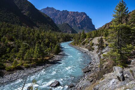 River on Annapurna Circuit Trekking, Nepal, landscape photo Reklamní fotografie