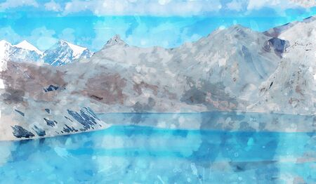 Digital landscape painting of mountains and lake in blue tone, art illustration Stock Photo