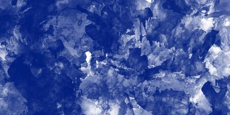 Watercolor painting in dark blue tones on white background, digital art illustration for background