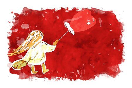 Girl holding heart shape balloon on red watercolor background, watercolor painting for Valentines Day card