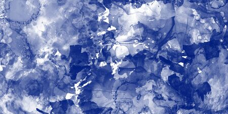 Watercolor texture on paper in blue color for background, abstract watercolor painting