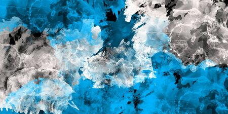 Watercolor texture on paper in blue and gray color for background, abstract watercolor painting