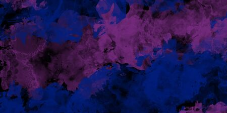 Watercolor texture on paper in blue and purple color for background, abstract watercolor painting