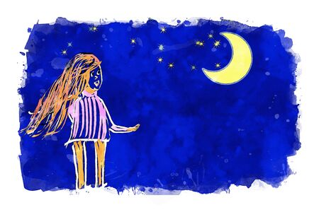 Girl with crescent moon and stars on blue sky background, cartoon watercolor painting