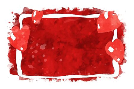 Red hearts and white frame on red watercolor background, watercolor painting for Valentine's Day Stock Photo