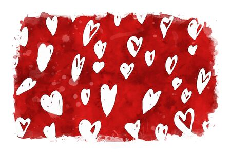 White hearts  on red watercolor background, watercolor painting for Valentine's Day Stock Photo
