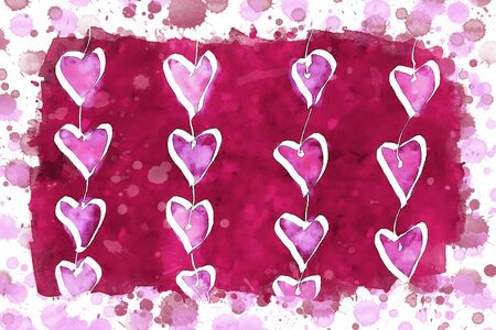 Pink hearts on pink watercolor background, watercolor painting for Valentine's Day Stock Photo