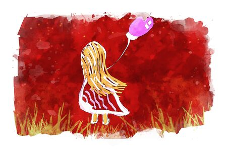 Girl holding heart shape balloons on pink watercolor background, watercolor painting for Valentines Day card