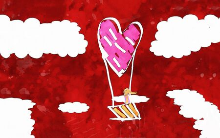 Girl in balloon basket on sky, heart shape balloon on red watercolor, watercolor painting for Valentines Day card