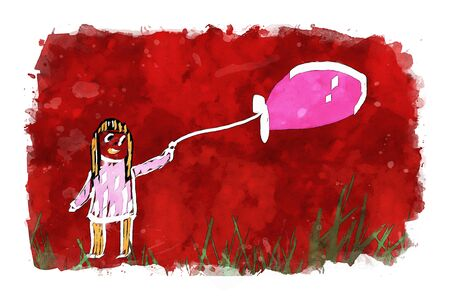 Girl holding balloon on red watercolor background, watercolor painting for Valentines Day card