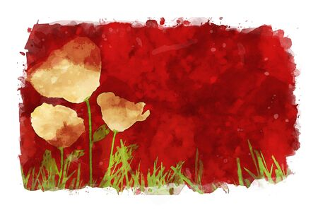 Poppies on red watercolor background, red tones image, flower watercolor painting