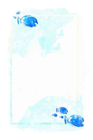 Sea fish and frame on blue watercolor background, blue tones image, summer watercolor painting