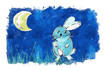 Rabbit with crescent moon and stars on blue sky background, cartoon watercolor painting