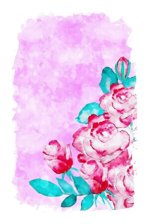 Red roses on pink watercolor background, watercolor painting for Valentines Day card Stock Photo