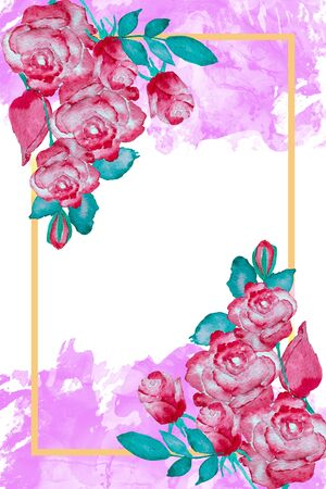 Red roses and frame on pink watercolor background, watercolor painting for Valentines Day card