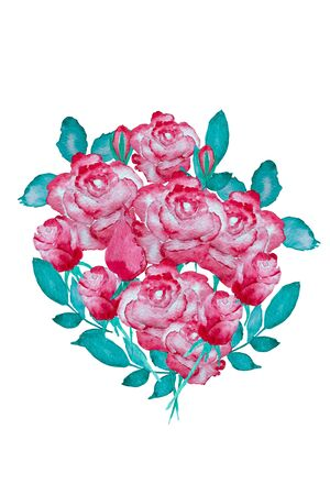 Isolated image of roses, flower watercolor painting on white background