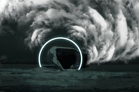 Wrecked ship on ice lake at night, ship in dimensional gate from another dimension with cloud whirlwind