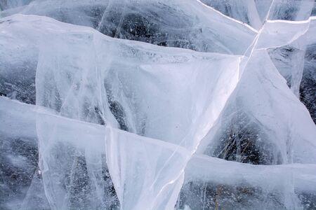 Surface of frozen lake at Baikal Lake, Russia