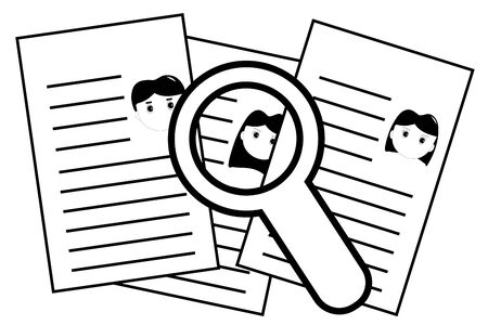 Finding person from resumes for interview, work position searching, black and white vector illustration Stock Illustratie