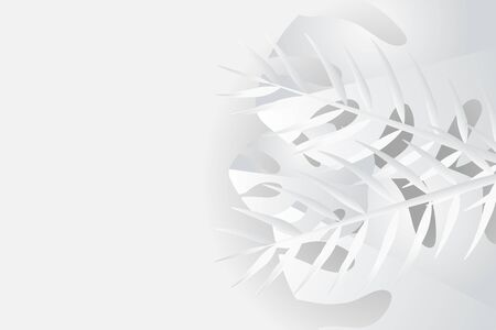 Tropical leaves in white and gray shades, summer background, vector image Vektorgrafik