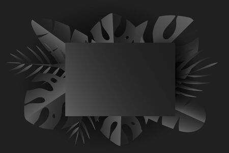 Tropical leaves with frame in black and gray shades, dark summer background, simplicity conceptual, vector image