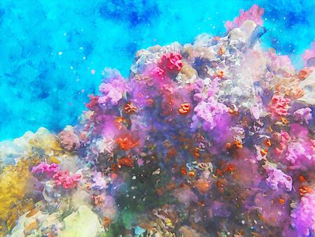Abstract painting of marine life, underwater landscape image, colorful sea life, digital watercolor illustration