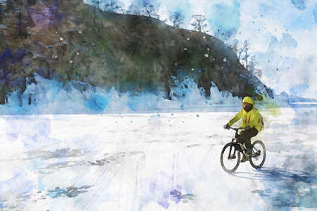 Man riding bicycle alone on ice at frozen lake in winter with island background, digital watercolor painting