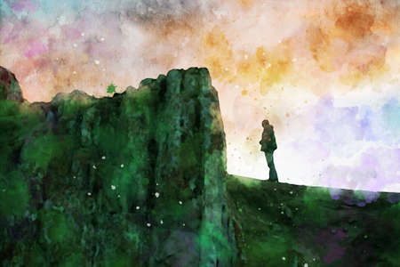 Man standing alone on cliff at twilight time with colorful sky background, digital watercolor painting Foto de archivo