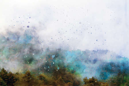 Semi-abstract image of pine forest on mountain with fog, digital watercolor painting Foto de archivo