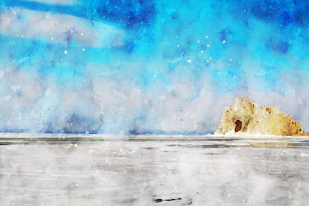 Rock island and frozen lake with blue sky background, digital watercolor painting