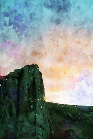 Rock cliff at twilight time with colorful sky background, digital watercolor painting