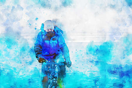 Man riding bicycle alone on ice at frozen lake in winter, digital watercolor painting
