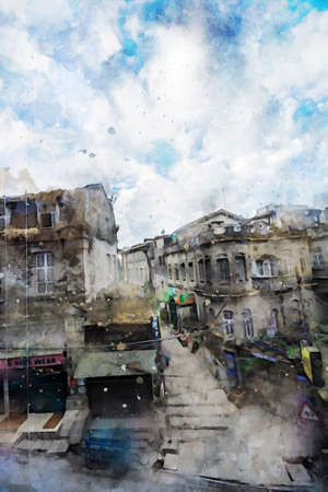 Old building in dark tone with sky and clouds background, old city illustration, digital watercolor painting