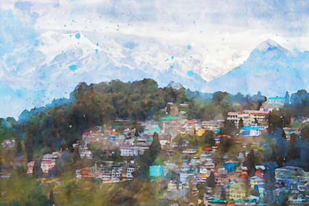 Colorful city on hill with snow mountains background, village on mountain illustration, digital watercolor painting