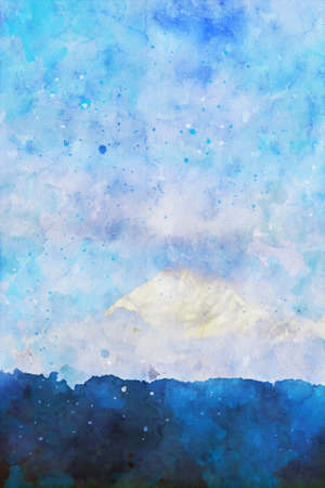 Mountain peak in blue shades with sky background, vertical image, winter season of nature illustration, digital watercolor painting