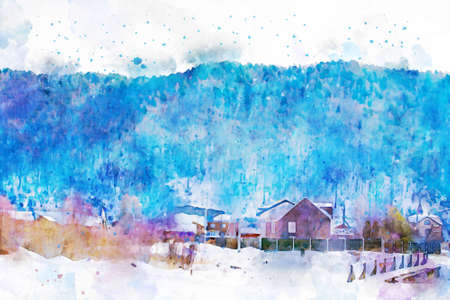 Village in rural area with snow on ground and mountain background, winter season illustration, digital watercolor painting Foto de archivo
